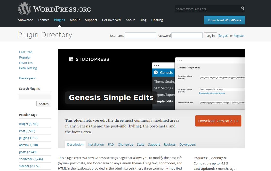 Footer Genesis Framework